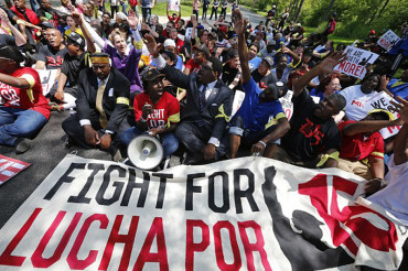 Demonstrators protest low wages at fast-food restaurants