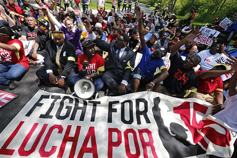 Fast food protesters low wages