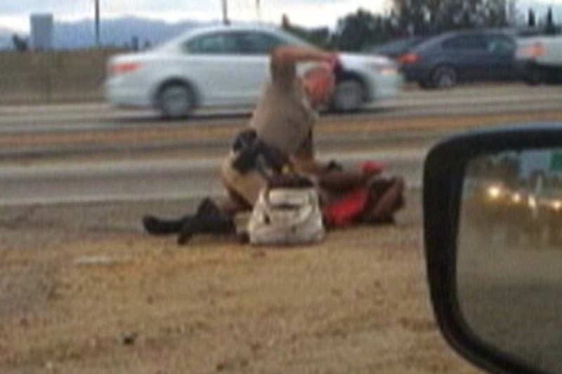Grandmother beaten by cop on LA freeway sues