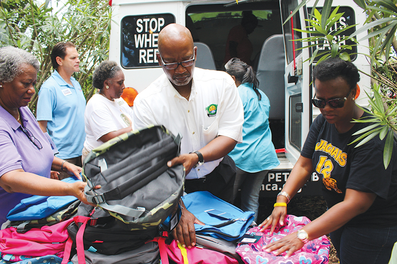 Backpack giveaways around the city