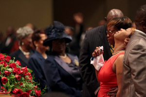 Michael Brown's mom Lesley McSpadden at funeral, btb