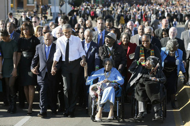 'Our march is not yet finished.' Thousands gather to see Obama mark 50th anniversary of Selma