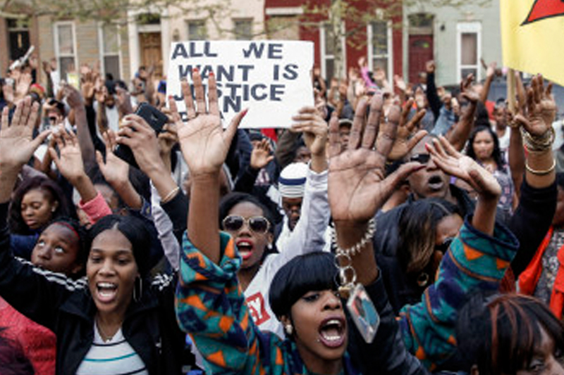 'Justice For Freddie': Hundreds protest death of man after arrest by Baltimore police