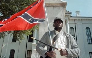 Black Confederate flag supporter, btb