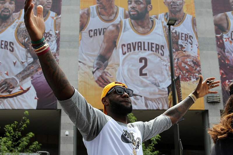 Lebron James takes his throne at the head of the Cavaliers' victory parade