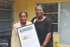 Margaret Pittmon, left, with Dir. of Nursing Marcea McFarlane