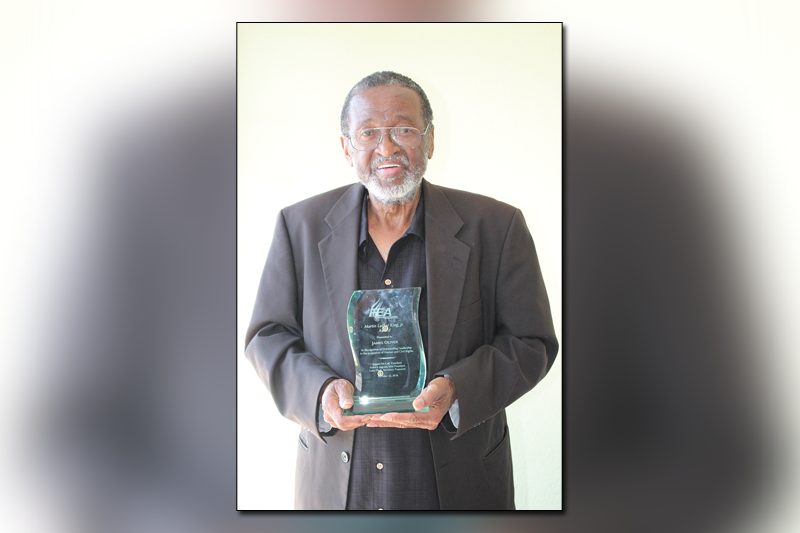 Oliver receives the Martin Luther King, Jr. Award for 33 years of educating