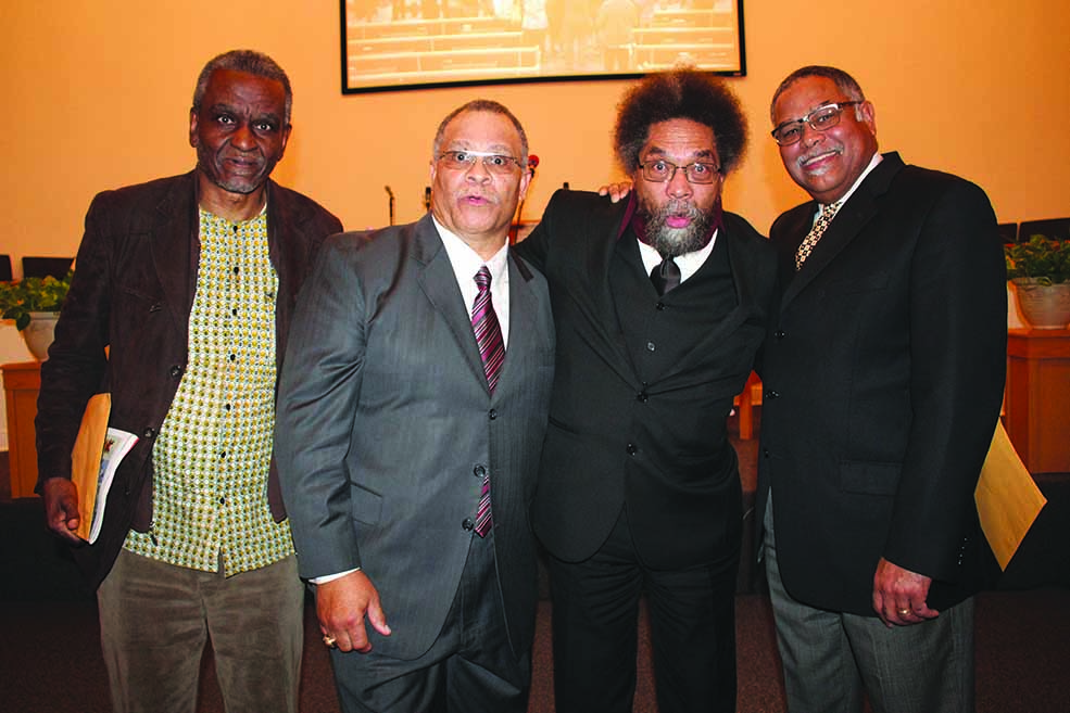 L-R, Dr. Gerald Horne, Pastor Clarence Williams, Dr. Cornel West and Dr. Wilmer Leon