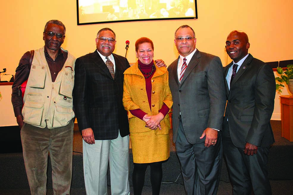 L-R, Dr. Gerald Horne, Dr. Wilmer Leon, Dr. Julianne Malveaux and Pastor Clarence Williams