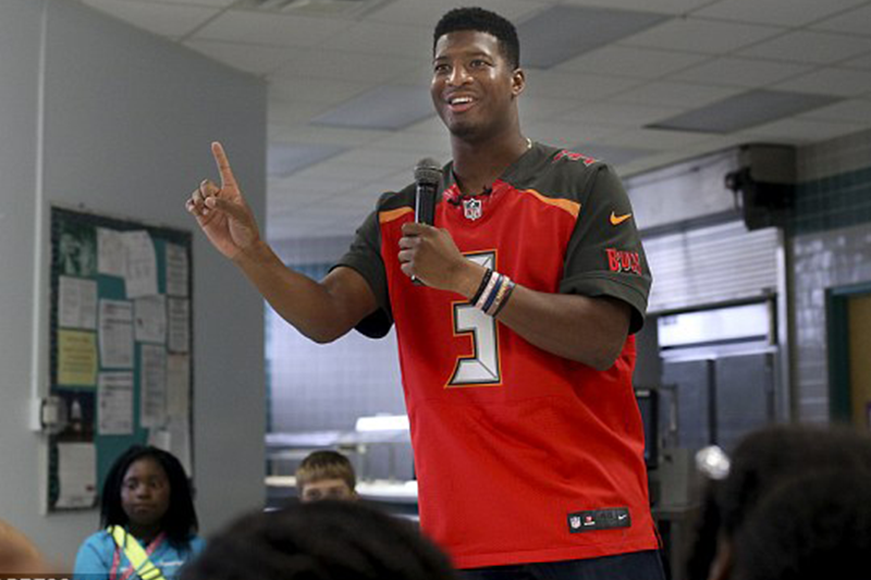 Jameis Winston tells elementary school boys 'to be strong,' girls sit down … be silent and polite'