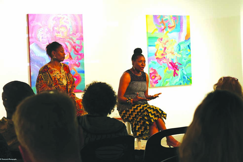 "Following the showing of ""Dancing Like Home,"" Carla Bristol (right) and Joyce Guy (left) sat down for audience questions."