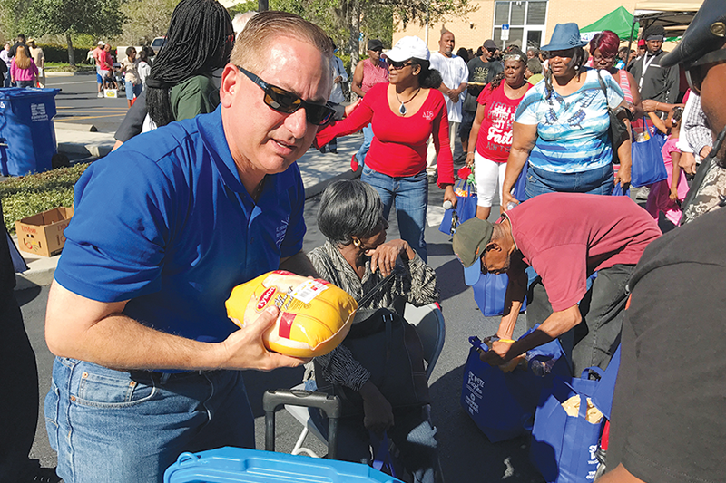 More than 500 families received free food