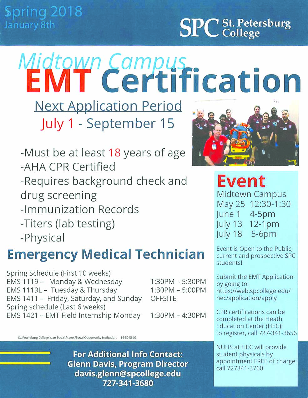 Spc emt program begins enrollment the emt program is part of spcs emergency medical services ems program that trains students for careers as emergency medical technicians or paramedics xflitez Choice Image