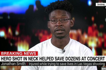 Las Vegas hero who rescued 30 people before cop saved him, speaks of cop