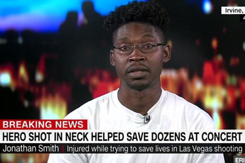Las Vegas hero who rescued 30 people before cop saved him, speaks of cop