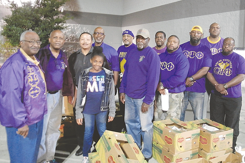 Omegas donate Thanksgiving baskets
