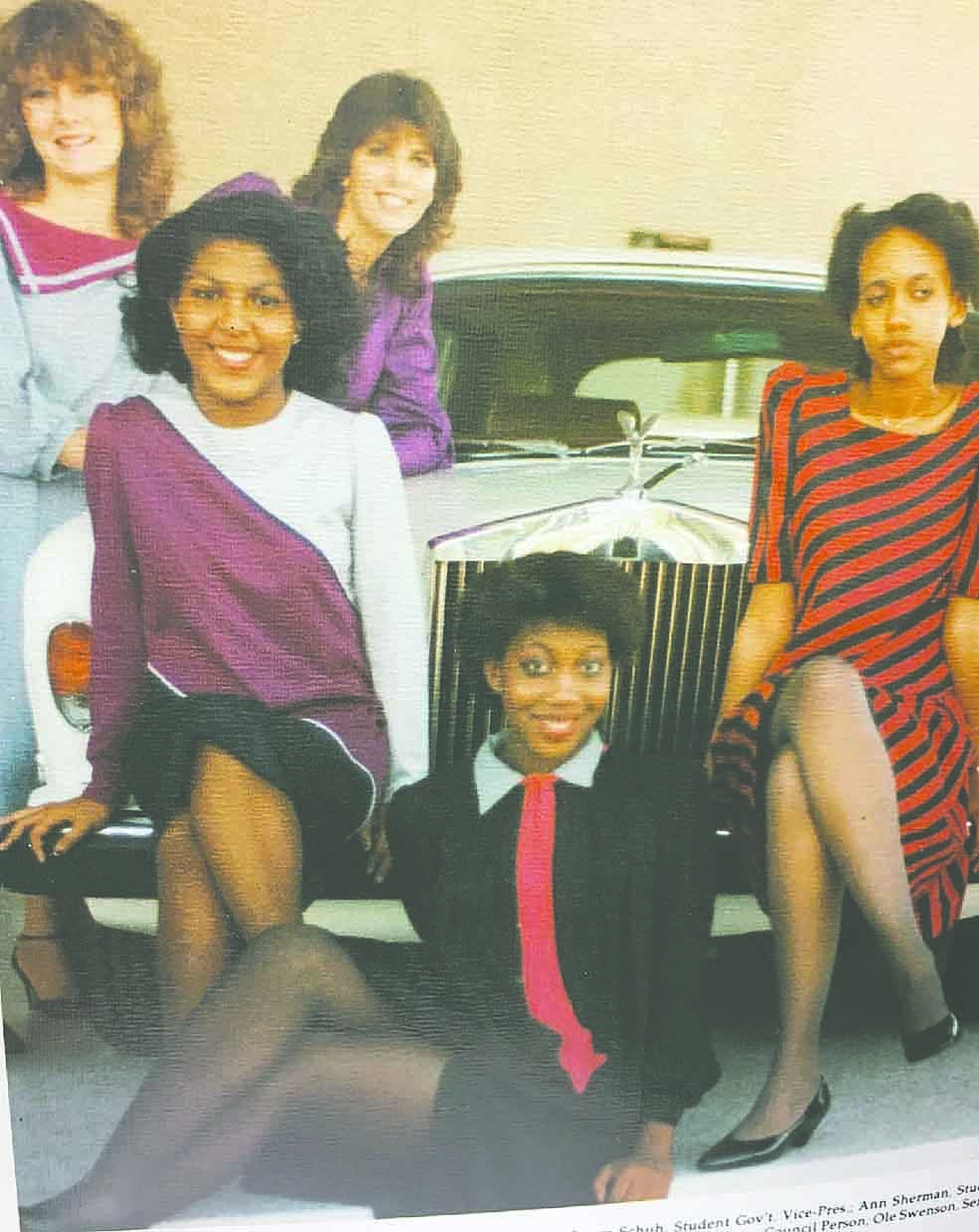 Class of 1983 Front: Ann Sherman-White Middle: Joy Porter-Wright, left, and Erin Savage Back: Jody Richards, left, and Laura Schubert