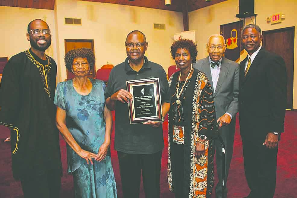 L-R, Rev. Lee Hall-Perkins, sister Catherine Jackson, Leon Jackson, classmate Ann Burney, Raymond Sanderlin and Luke Williams