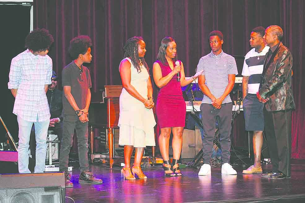 Darryl Rouson's children: L-R, Jared, Aaron, Danielle, Sakeisha, Emmanuel, Daniel Rouson. Not pictured Giselle Rouson-Battley and Antonio Winston.