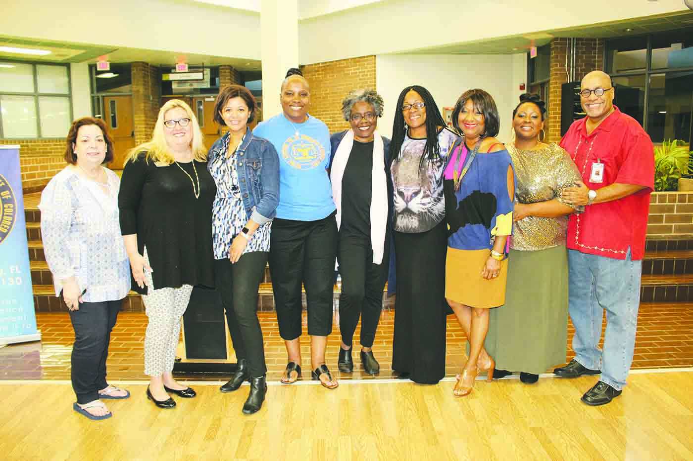 L-R, School Board member Terry Krassner, ELC's Lindsay Carson, Dir. of Education Leah McRae, NAACP President Maria L. Scruggs, Dr. Noliwe Rooks, Faye Watson, Trenia Cox, Shyla Sams and PTC's Lavender at Pinellas Technical College Saturday, April 7.